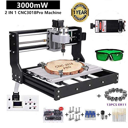 CNC 3018-PRO Router Kit GRBL Control 3 Axis Plastic Acrylic PCB PVC Wood Carving Milling Engraving Machine, XYZ Working Area 300x180x45mm ...