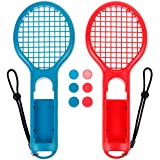 Zacro Tennis Rackets for Nintendo Switch Joy-Con Controller Fits Mario Tennis Aces Game, Gaming Racquets for Mario Tennis, 6 Thumb Stick Grips Included