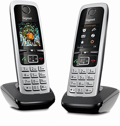 Gigaset C430HX Duo – 2 schnurlose IP-Telefone (zum Anschluss an Router oder Basisstationen - klassische Mobilteile mit Farbdisplay und HD-Voice) schwarz-silber 1