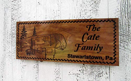 Custom Camping Sign with a 5th Wheel Camper, Personalized Camper Sign, Custom Carved Wooden Signs