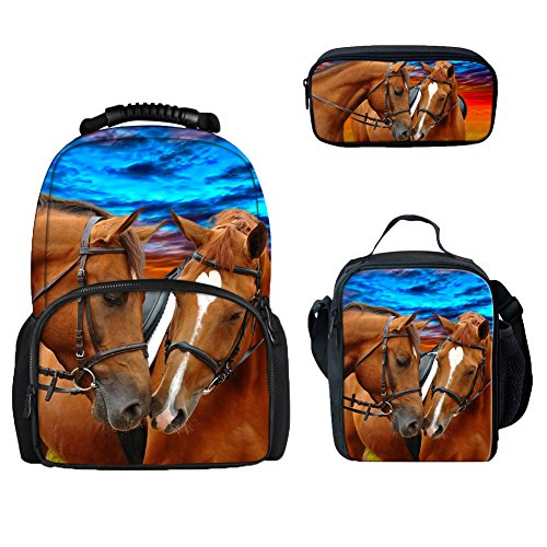 Coloranimal Crazy 3D Horse Print Womens Travel Felt Backpack+Lunch Bag+Makeup Bag