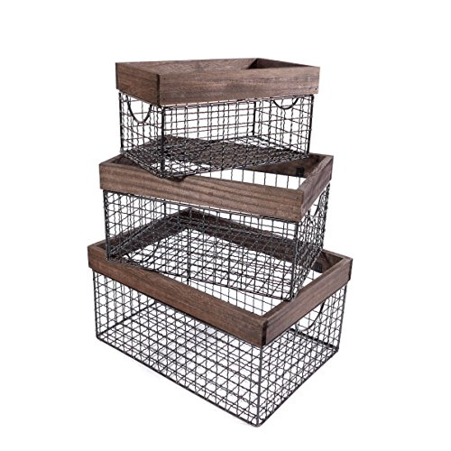 SLPR Wooden Top Wire Storage Baskets (Set of 3, Dark Wood) | Organizer with Built-in Handles for Kitchen Laundry Nursery Cabinets Wardrobe (Wooden Chicken Crate)