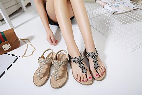 Planas Toe del Las de Topcloud de Zapatos Sandalias Verano Bohemia Verano Mujeres de Negro Rhinestone Flat 4B5dqWPw