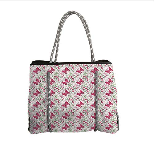 iPrint Neoprene Multipurpose Beach Bag Tote Bags,Butterfly,Floral Pattern with Blossoming Nature Theme Fauna Flora Harmonious Image,Green Magenta White,Women Casual Handbag Tote Bags]()