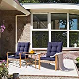 Solaura Outdoor Patio Furniture 2-5 Piece Bistro Set Light Brown/Navy Blue Cushion & Sophisticated Glass Coffee Table