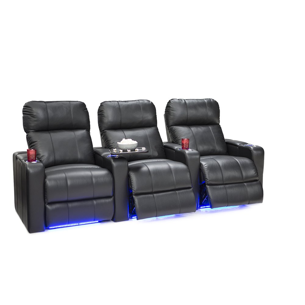 Seatcraft Monterey Leather Home Theater Seating Power Recline with Adjustable Powered Headrests, In-Arm Storage, and USB Charging, Row of 3, Black