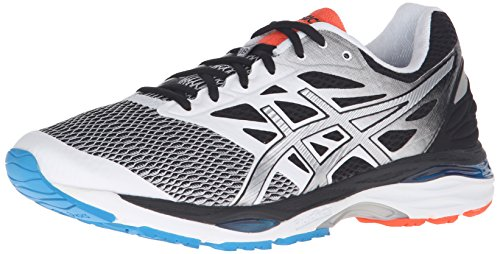 ASICS Men's Gel-Cumulus 18 Running Shoe, White/Silver/Black, 12 M US