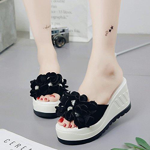 Palabra GTVERNH Tacones Altos Dedos De Zapatillas Perlas Zapatos Flores Tela Verano black Tacones Mujer Los Sandalias De Pies De Gamuza De Una raHBqrn