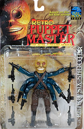 1999 - Full Moon Toys Inc - Based on Hit Film Series - Retro Puppet Master - Retro Six Shooter - From The Action Figure Series - 6.5 Inches - 6 Machine Guns - Exclusive - Out of Production - New - Mint - Very Rare - Collectible Puppet Master Six Shooter