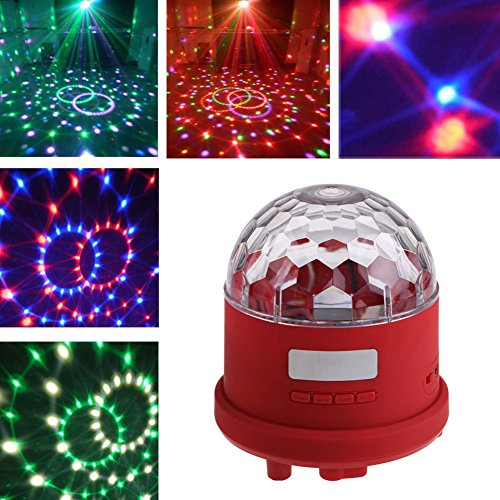 Vktech® LED Disco DJ Stage Crystal Magic Ball Speaker Effect Sunflower Laser Lighting Show party MP3 USB LAMP (Red)