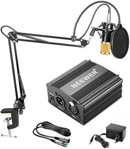 Neewer NW-800 Kit de Microphone à Condensateur – Micro Doré, 48V Alimentation Fantôme Noir, NW-35 Boom Support de Bras à Ciseaux avec Montage Choc et Filtre Pop, XLR Câble Mâle à Femelle