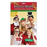 13pcs Photo Booth Props Christmas Glitter Selfie Kit Party Photographs Santa New Reindeer Santa Mistletoe Hat Sign Naughty Nice Prop Handheld by Amscan