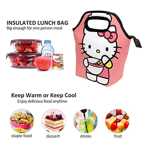 Lunch Bag Hello Kitty Cooking Insulated Lunch Tote Boxes Cooler Bag For Adults Men Women Kids Boys Nurses Teens