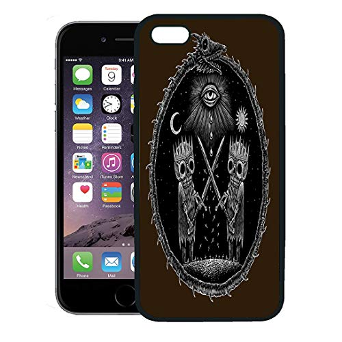 Semtomn Phone Case for iPhone 8 Plus case,War of Kings Two Skeleton Warring Sword Against God Eye The Ancient Dragon Serpent Ouroboros Sun Moon iPhone 7 Plus case Cover,Black