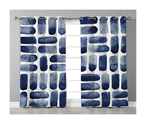 Goods247 Blackout Curtains,Grommets Panels Printed Curtains for Living Room (Set of 2 Panels,55 by 84 Inch Length),Dark Blue -