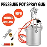 Superland 2-1/2 Gallons High Pressure Pot Air Paint Spray Gun 325L/min Pressure Pot Spray Gun Tank Hose Gauge DIY House Paint Air Tools Set (10L)