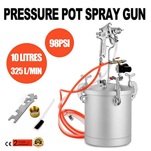 High Pressure Tank - Superland 2-1/2 Gallons High Pressure Pot Air Paint Spray Gun 325L/min Pressure Pot Spray Gun Tank Hose Gauge DIY House Paint Air Tools Set (10L)