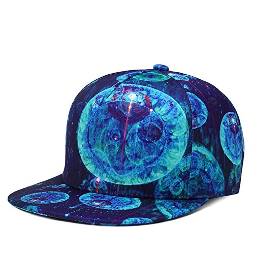 3D Printed Baseball Caps Galaxy Space Hats-Embroidery Brim Street Hip Hop Adjustable Snapback Caps (Jellyfish)