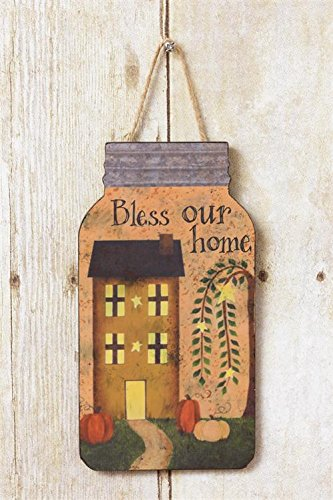 (Audrey's Mason Jar Shaped Wood Sign w/Jute Hanger - Bless Our Home w/Saltbox House Pumpkins Willows Rustic Country Primitive)