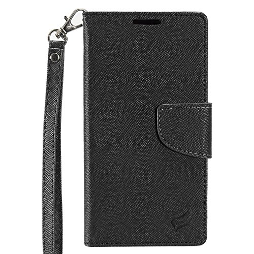 Black Leather Fitted Wallet Case (ZTE N9560 Pouch, HJ Power[TM] For ZTE Max XL N9560/ZMax Pro Z981/Blade X Max Z983/Max Blue/Blade Max 3 Z986 (Virgin Mobile, Boost Mobile)--CT4 Fitted Leather PU WALLET POUCH Case Black Black)