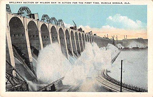 Muscle Shoals Alabama Wilson Dam Spillway Section Antique Postcard J67745