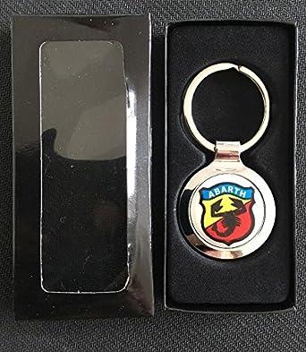 Scooby Designs Fiat 500 595 Abarth Schlüsselanhänger Aus Metall Mit Geschenkbox Bekleidung