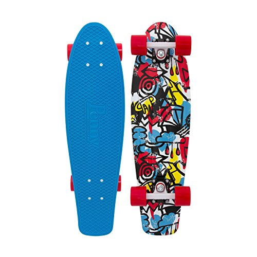 Penny Nickel Complete Skateboard, 27-Inch, Red/White/Cyan