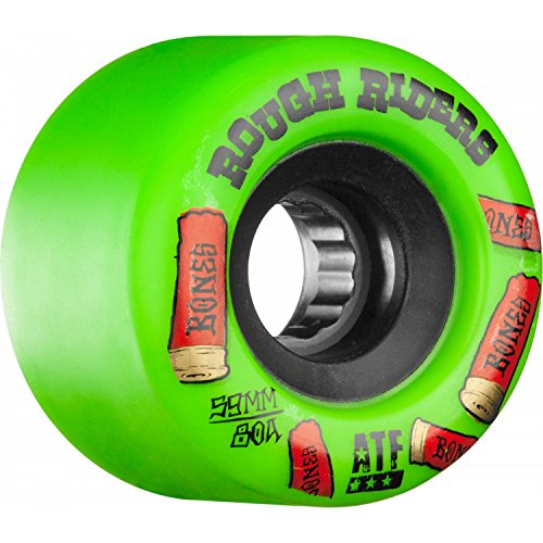 Bones Wheels Rough Riders 80a Skateboard Wheels (Green - Shotgun, 59mm)