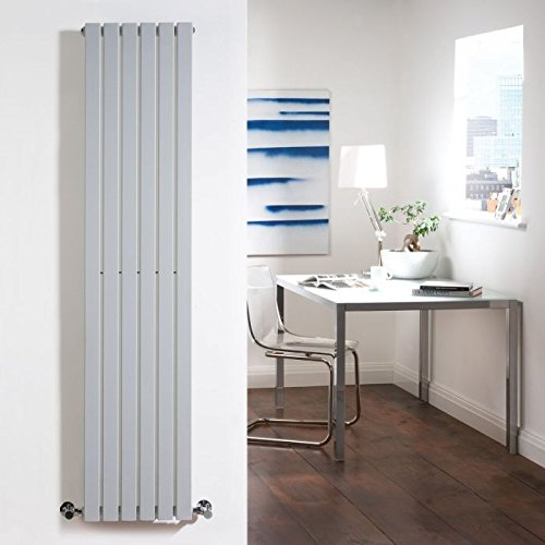 (Hudson Reed - Sloane Modern Vertical Radiator With Valves And Brackets In Silver - 63