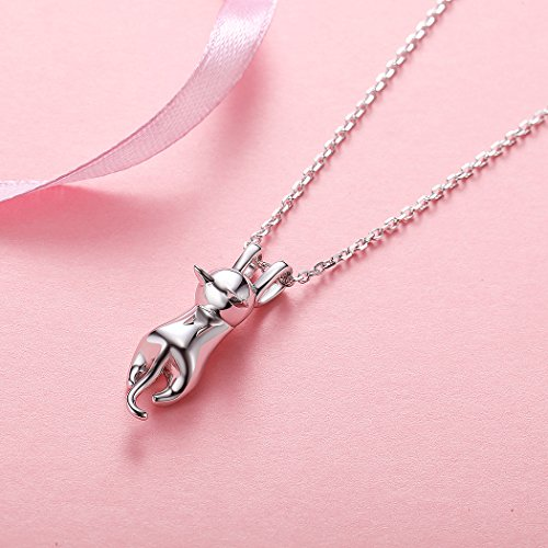 Fine Jewelry Charm Necklace for Girls Sterling Silver Simple Minimalist Cat Pendant, 18'' by SILVERCUTE (Image #1)