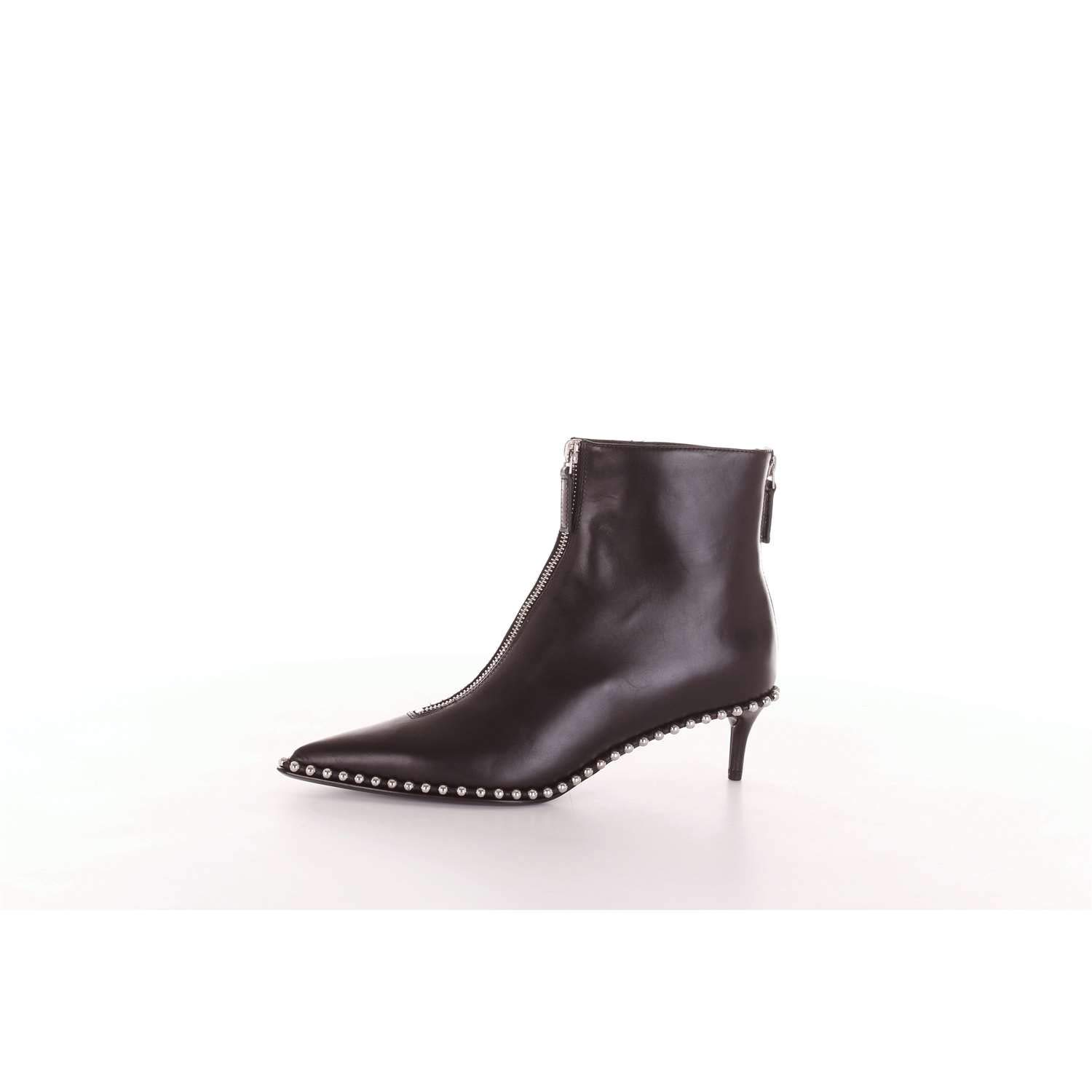 bba7ea0e212c4 Alexander wang womens eri black leather studded low boots zipper front ankle  bootie jpg 1500x1500 Low