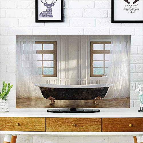 Classics Round Bath Bar - Auraisehome Television Protector Retro Bathtub in Luxurious Modern Room Interior Hardwood Classics Space Design Television Protector W35 x H55 INCH/TV 60