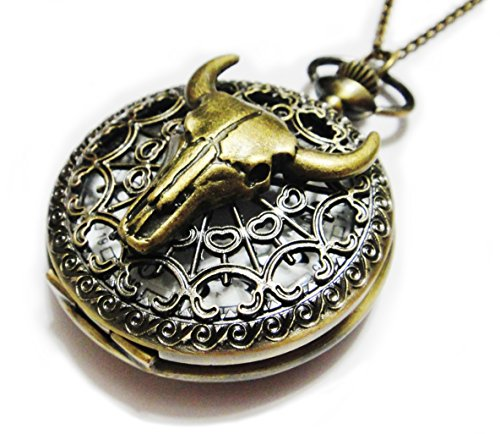 Bull Skull Pocket Watch Necklace Chain Pendant - Cow Head...