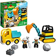 LEGO DUPLO Construction Truck & Tracked Excavator 10931 Building Site Toy for Kids Aged 2 and Up; Digger T