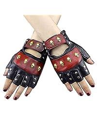 Vintage Leather Skull Studded Womens Driving Punk Rock Cosplay Fingerless gloves