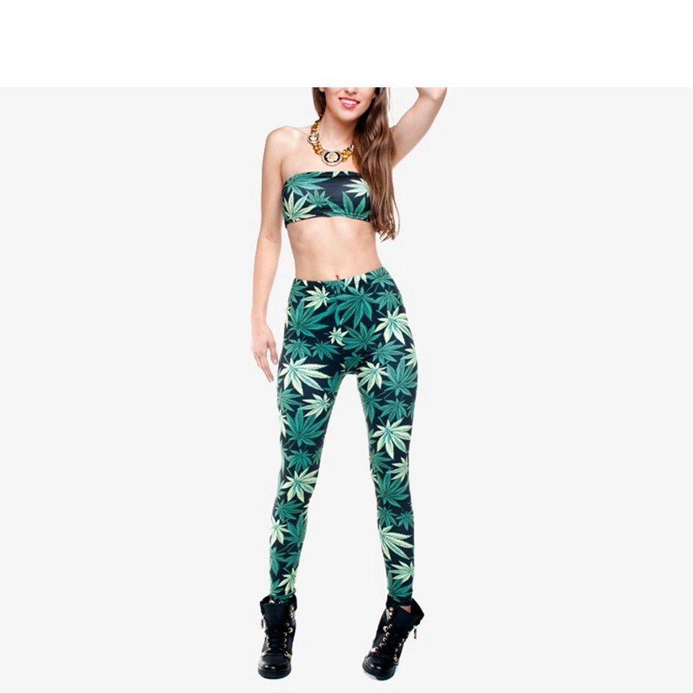 YoungG-3D Women Clothing Ladies Legins Full Length Weeds 3D Graphic Printing Legging