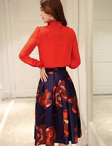 PU&PU Robe Aux femmes Patineuse Simple,Imprimé Col Ras du Cou Midi Polyester , red-l , red-l