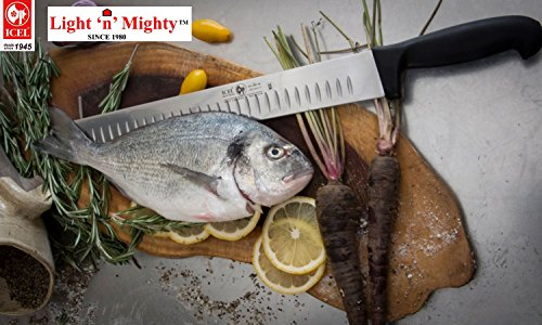 12-inch Blade Granton Edge, Turkey, Salmon, ham Slicer, Meat Slicing Knife. NSF Certified, German Steel,Knife sharpening instruction included, Best Knife to Slice Large Roast and Whole Turkey. by Icel (Image #3)