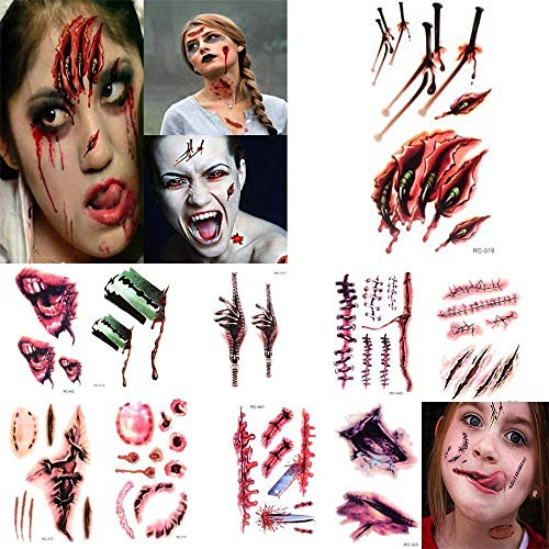 Really Scary Halloween Faces (10Pcs Halloween Zombie Scar Tattoos Fake Scars Bloody Costume Makeup Halloween Decoration Horror Wound Scary Blood Injury)