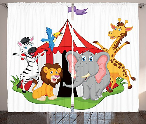 [Circus Decor Curtains Trained Performer Acrobat Animals in Circus Tent Happy Giraffe Elephant Joyful Art Living Room Bedroom Decor 2 Panel Set Red Green Yellow,Size:2 x 54