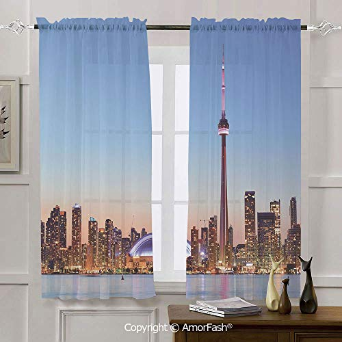 AmorFash Modern Small Window Curtains for Bedroom -Home Decoration Rod Pocket Sheer Curtain,42x45 Inch Canadian Skyline Toronto City with Lake Panorama at Evening Urban Scenery Decorative (Toronto Curtains Sheer)
