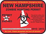 New Hampshire zombie hunting permit decal bumper sticker