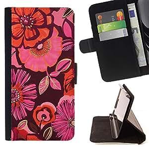 Momo Phone Case / Flip Funda de Cuero Case Cover - Orange Purple Flores rosas - Samsung Galaxy A5 ( A5000 ) 2014 Version