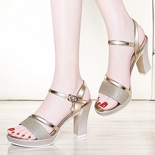 Eu35 Oro Color Zapatos Con Plata Áspera Medio Verano Mujer Tacón cn34 uk3 Tamaño De Sandalias X7xq17Bv