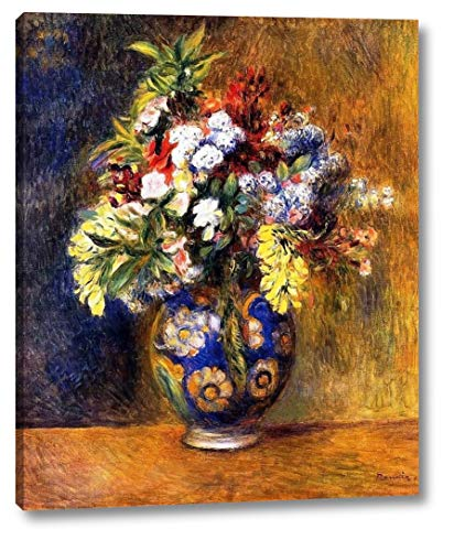 """Flowers in a Vase by Pierre Auguste Renoir - 18"""" x 22"""" Gallery Wrap Giclee Canvas Print - Ready to Hang"""