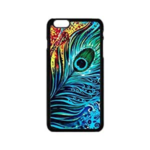 New products,Animal series,Colorful peacock feather picture for black plastic iphone 6 case (4.7 inch)