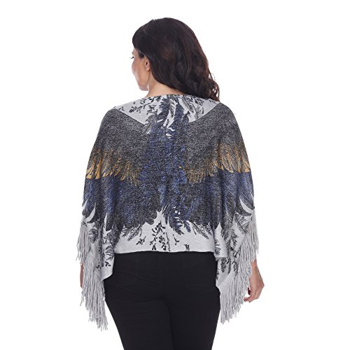 White Mark Trendy Plus Size Poncho Top Angel Eagle Wings One Size Queen Will Fit 1 X 2X 3X (Silver)