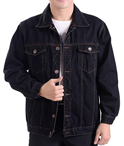 WSPLYSPJY Men's Autumn Classic Casual Loose Long Sleeves Button Plus Size Denim Jacket Black XXL (Wholesale Denim Jackets)