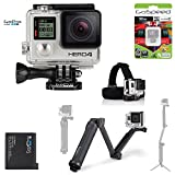 GoPro Hero4 Hero 4 12MP Full HD 4K 30fps 1080p 120fps Built-In Wi-Fi Waterproof Wearable Camera Black Adventure 32GB Extreme Bundle Edition 3-Way Grip, Headstrap Mount + Quick Clip and Spare GoPro Rechargable Battery