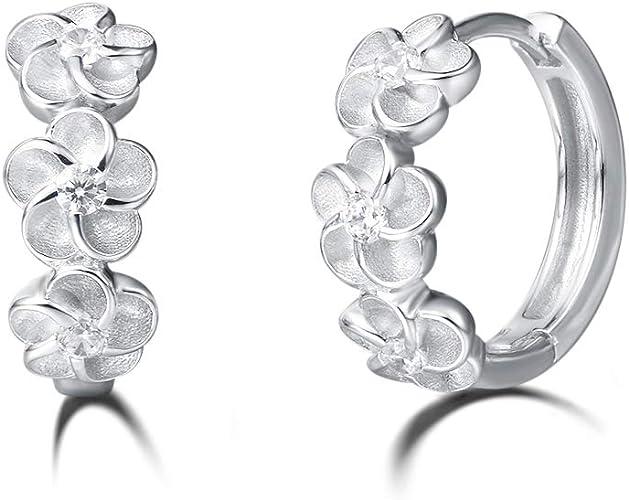 h5/_jc 1 Pair Silver Women Luxury Rose Gold Flower Tear Drop Colorful Cubic Zircon Stud Earrings